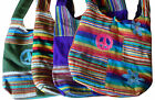 FAIR TRADE COTTON GHERI PEACE/FLOWER HIPPY BOHO SHOULDER BEACH TRAVEL BAG