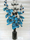 NEW SILK FLOWER ARRANGEMENT IN VASE:* TEAL & BLACK*Ideal Gift/Home Decor*