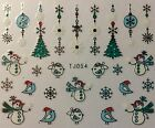 Nail Art 3D Decal Stickers Christmas Tree Snowman Snowflakes Bird TJ054
