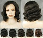 "11"" Front lace short black/brown wavy heat resistant synthetic wig.TOP QUALITY"
