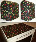 Custom Hot Peppers Cover Set for Kitchen Countertop Appliances