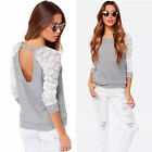 New Womens Lace Sheer Long Sleeve Casual Blouse Top Pullover Jumper Hoody Jumper