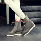 Vintage Womens Punk Platform Creeper Wedge Heel Lace Up Ankle Riding Boots Size