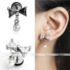 1x 16G Bow CZ Steel Bars Ear Tragus Cartilage Helix Stud Earring Body Piercing