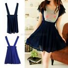 Summer Womens Chiffon Suspender Skirt Straps Flared Pleated Skirt Party Cocktail