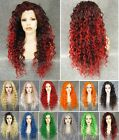 """26"""" Front lace long curly wavy brown ombre red synthetic wig.green golden blue"""