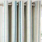Melrose Stripe Woven Effect Cotton Eyelet Ring Top Lined Curtains, Duck Egg