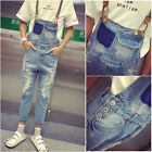 HOT Men Classical Denims Ripped Hole Jeans Suspender Trousers Jumpsuits Overalls