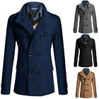 Classic Mens Wool Long Overcoat Warm Winter Coat Velvet Collar Jacket Parka S~XL