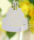 Pearlescent cake wedding favor mark wine glass cards table name card laser cut