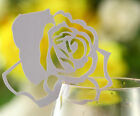 Pearlescent rose laser cut wedding favor mark wine glass cards table name card
