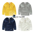 2017 Spring Baby Child Kids Boys Neck Three Buttons Long Sleeve T-Shirt Top 2-7Y