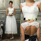 2016 Stock New White Lace Short Wedding Dress Bridal Gown Size 6 8 10 12 14 16++