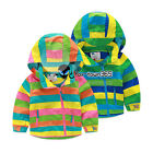 Spring Autumn Boy Girl Baby Child Kids Stripe Rainbow Zipper Coat Jackets 2-8Y