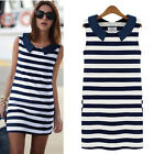 Vogue Womens Denim Collar Sleeveless Casual Slim Striped Summer Mini Dress CALA