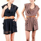 New! DOUBLE ZERO Drape Neck Cap Sleeve Tunic Dress With Belt Navy Taupe S M L