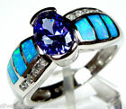 1.21 ct Tanzanite & Blue Fire Opal Inlay Solid 925 Sterling Silver Ring Size 6-9