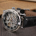 Men's Classic round Dial Skeleton Leather Mechanical Sport Wrist Watch
