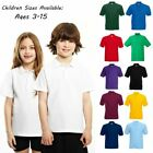 Ages 1-15 Plain Polo Shirt Short Sleeve Boys Girls P.E School Uniform 20+ Colors