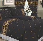ATHENS BLACK GREEK KEY ROPE EFFECT METALLIC GOLD TRADITIONAL BEDDING OR CURTAINS