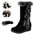 Women Lady Faux Leather Rabbit Fur Buckles Mid Calf Wedge Heel Snow Boots Shoes