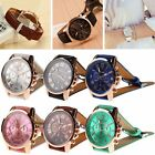 Stylish Women's Popular Geneva Roman Numerals Leather Analog Quartz Wrist Watch