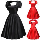 Satin 50's Vintage Puff Sleeves Evening Party Tea Dress Swing Skaters