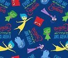 DISNEY PIXAR INSIDE OUT BLUE emotions : 100% licensed cotton  by the 1/2 metre