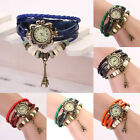 Hot Women Girl Retro Leather Bracelet Eiffel Tower Decoration Quartz Wrist Watch