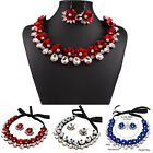 Women Jewelry Crystal Flowers Pendant Chain Bib Statement Necklace Earrings Set