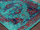 Modern Hand Knotted Turquoise Silk Wool Rectangle Area Rug 2x3,3x5,5x8,8x10