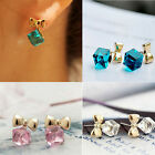 New Women Fashion Crystal Stud Earrings Ear Stud Water Cube Bow Earrings KT15