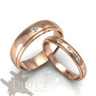 10K Real ROSE GOLD GENUINE DIAMOND His/Her Lover Matching Wedding Band Ring 4-13