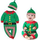 1 Set Kids Christmas Romper with Hat Baby Christmas Clothes Long Sleeve K20