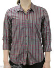 STEVEN ALAN Gray & Red Plaid Reverse Seam Button Down Shirt WST03CT NWT $158