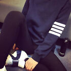 Women Long Sleeve Stripe Tracksuit Loose Sports Hoody Pullover Sweatshirt