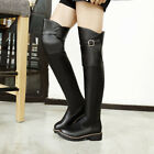 Ladies Low Heel Buckle Pull On Over The Knee Boots Leisure Women Boots Plus Size