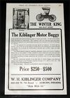 1907 OLD MAGAZINE PRINT AD, THE KIBLINGER MOTOR BUGGY, THE WINTER KING RUNABOUT!