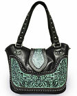 New Montana West® Concealed Carry Western Bag w/ tooled Leather Accents-TQ/Black