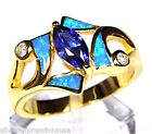 Genuine 18k Gold Over Sterling Silver Tanzanite & Blue Fire Opal Inlay Ring 7-9