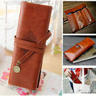 Retro Style Faux Leather Pencil Pen Case Cosmetic Brush Holder Makeup Bag Pouch