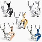 """ I Love You"" Matching Heart His&Hers Couple Pendant Stainless Steel Necklace"