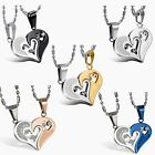 """"""" I Love You"""" Matching Heart His&hers Couple Pendant Stainless Steel Necklace"""
