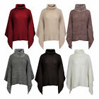 Women Ladies Knitted Polo Cowl Turtle Neck Poncho Jumper Cape Wrap Waterfall Top