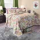 Abstract Flower Reversible Cotton Quilted Blanket Bedspread Twin Queen King image