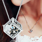 Fashion Women Silver Chain Crystal Rhinestone Rectangle Pendant Necklace Jewelry