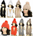 NEW Women Winter Warm Cable Knit Cowl Neck Long Scarf Shawl and POM Beanie Set