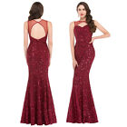 WINE RED FISHTAIL Formal Evening Party Bridesmaids Prom Dress 6 8 10 12 14 16 18