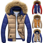 Mens Jacket FAUX Fur Collar Coat Bubble Quilted Padded Hooded Winter TOP Outwear