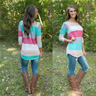 Women Tops O-Neck T-Shirt Long Sleeve Shirts Multicolor Pullover Blouse Tees EW